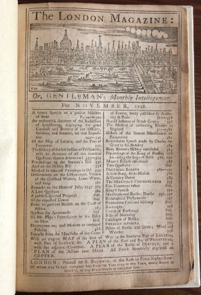 The London Magazine for Month of November 1758, or Gentleman's Monthly Intelligencer