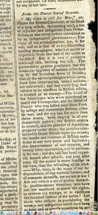 "WAR 1812, ""My Voice is Still for War"" why USA should be at war with the Britain article in The Newport Mercury, October 12, 1811 newspaper"