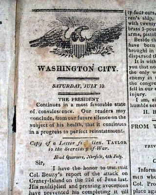 War of 1812 Battle of Craney Island Virginia 1813 July 10, 1813 [Washington] National Intelligencer Newspaper