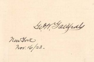 George Washington Goethals, engineer, Panama Canal signature. George Washington GOETHAIS