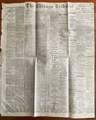 The Chicago Tribune newspaper June 1, 1869 Indepth Report on; The New Northwest, The Transfer of...