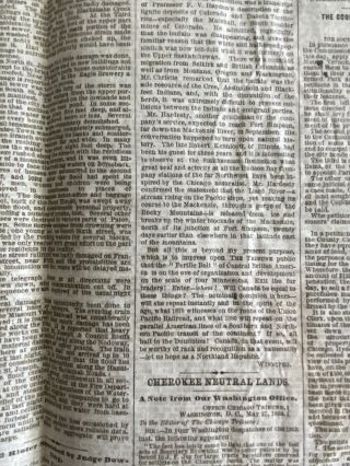 The Chicago Tribune newspaper June 1, 1869 Indepth Report on; The New Northwest, The Transfer of Selkirk and Saskatchewan To Canada, Fur Traders and Speculators etc