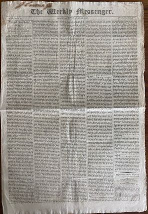 Very early Declaration of War on Great Britain by USA and many related articles published in The Weekly Messenger, June 26, 1812