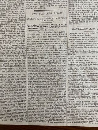 Three (3) 1871 The Springfield Republican newspapers with articles on Muskoka, Ontario Canada