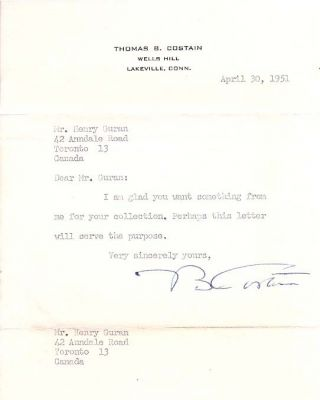 Author Thomas B. Costain Typed Letter Signed. Thomas .  COSTAIN, ertram, 1885 - 1965