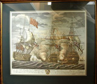 Battle of Cape Finisterre in 1747, HMS IINTREPID Litho Print - 70 gun Man o' War captured by the English. Lord ANSON.