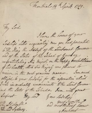 Jeffery Amherst autographed signed letter (ASL) to Lord Sydney. Jeffrey AMHERST, 1st Baron...