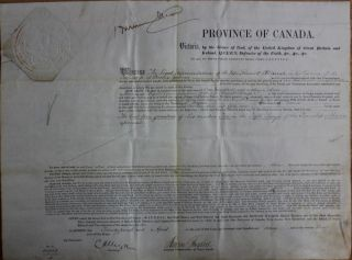 Province of Canada Land Grant to Roswell O. Darrah in the Township of Brome in the County of...