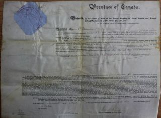 Province of Canada Land Grant to William O. Fessenden of the Township of Bolton in the County of...
