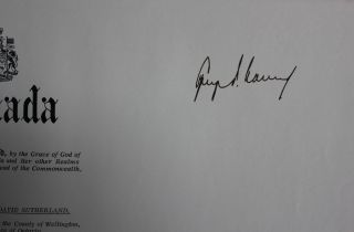 Honourable James David Sutherland appointment to be a local Judge of the High Court of Justice for Ontario (signed by at least Vanier co-signed by LaMarsh)