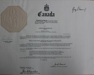 Judge David Sutherland certificate of Canada (signed by at least George Vanier co-signed by Judy...