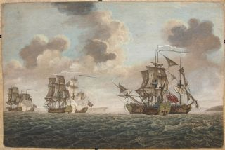 The Gallant Action (off the Isle of Man) where the brave Capt. Elliot Defeated and Took the...