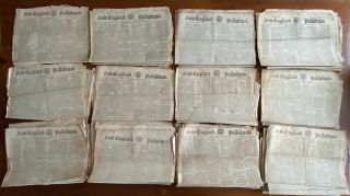 War of 1812 - 43 issues from 1814 of New England Palladium, Boston newspapers. New England...