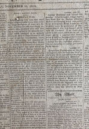 War of 1812 - 43 issues from 1814 of New England Palladium, Boston newspapers