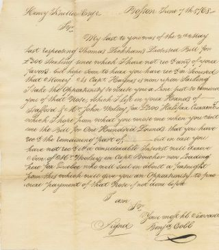 Duplicate (reminder) letter for payment of £300 from Capt. Benjamin Cobb. Benjamin COBB
