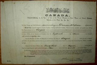 Canada appointment 1883 certificate to Duncan McLean as Active Militia Surgeon from June 18,1882....