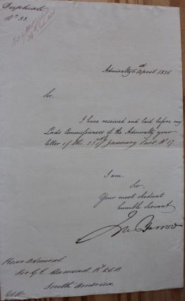 Letter signed by Sir John Barrow, Arctic exploration. Sir John BARROW.