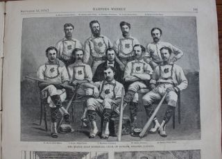 Printed newspaper 1874 Guelph Maple Leafs, line drawing of Canada's first world-champion...