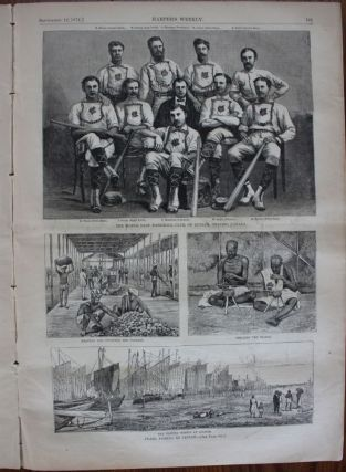 Printed newspaper 1874 Guelph Maple Leafs, line drawing of Canada's first world-champion baseball team