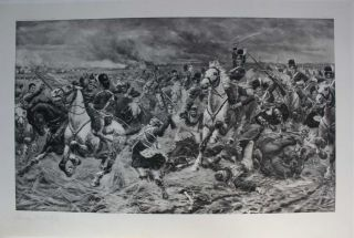 Gordons and Greys to the Front: An Incident at Waterloo. photogravure signed in pencil by Stanley...