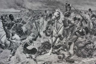 Gordons and Greys to the Front: An Incident at Waterloo. photogravure signed in pencil by Stanley Berkeley.