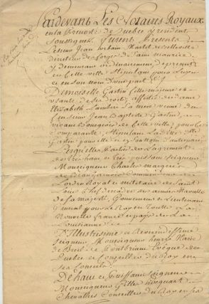 Contrat de mariage [marriage] (copie certifiée de l'époque) Québec, 6 septembre 1762 for Jean Urbain Martel of Belleville (1708-Ca. 1764) and Elisabeth Gastin. General James MURRAY, Hector Theophilus CRAMAHE, Jean-Claude PANET.