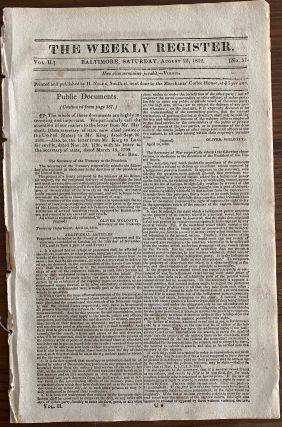The Weekly Register Aug. 22, 1812 published July 22, 1812 Proclamation From Major-General Isaac...