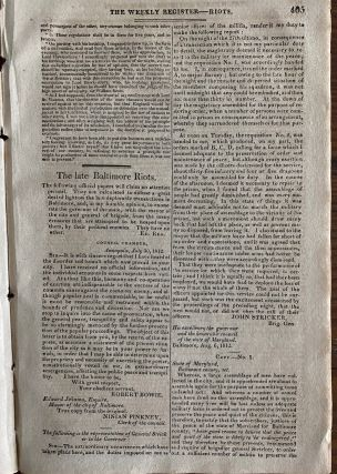 The Weekly Register Aug. 22, 1812 published July 22, 1812 Proclamation From Major-General Isaac Brock of Upper Canada on The Unprovoked Declaration of War By The United States.