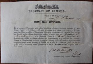 """School of Military Instruction"" Toronto two certificates for Casimir S. Gzowski Jr. Casimir..."