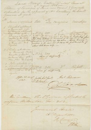Land Board Eastern District Cornwall manuscript. George  HILLIER, Samuel RIDOUT, John MATTICE,...