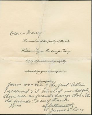 A printed William Lyon MacKenzie King funeral note July 1950 inscribed and signed by his sister,...