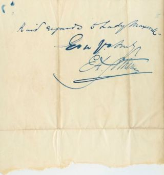 Edward Sothern handwritten Letter Signed to Sir John Heron Maxwell