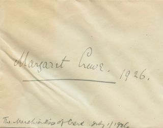 Margaret Etrenne Hannah ('Peggy') Crewe-Milne (nee Primrose), Marchioness of Crewe signature on...