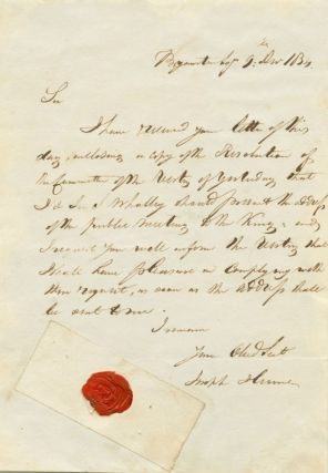 Joseph Hume Dec. 9 , 1831 Autograph Letter Signed on committee resolution. Joseph  HUME, 1777...