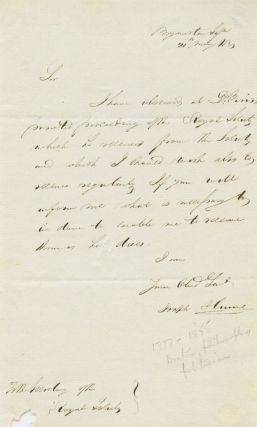 Joseph Hume May 20, 1831 Autograph Letter Signed to Royal Society secretary, acknowledging...