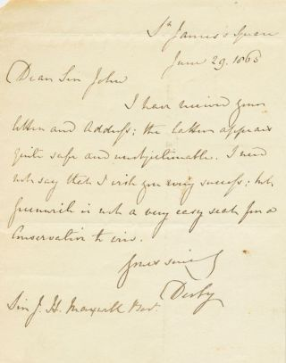 Edward George Geoffrey Smith-Stanley, 14th Earl of Derby Autograph 1865 Letter Signed (ASL)...