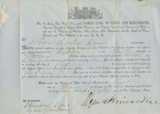 First Welland Regiment Military Captain Commission for Thomas C. Street signed by Elgin Kincardine. Thomas Clark STREET, James 8th Earl of Elgin BRUCE, 12th Earl of Kincardine, Clarke.