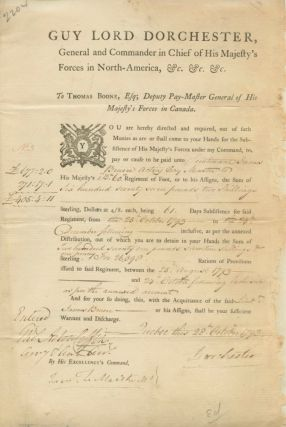 Guy Carleton, Lord Dorchester, Document Signed giving an account of money that is owed from...