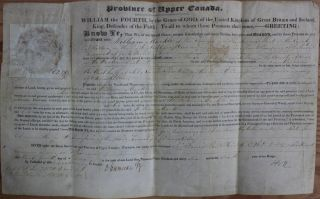 Province of Upper Canada Military Land Grant (signed by at least F.B. Head). Sir Francis Bond...
