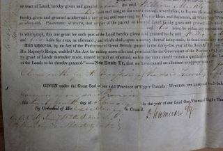 Province of Upper Canada Military Land Grant (signed by at least F.B. Head)