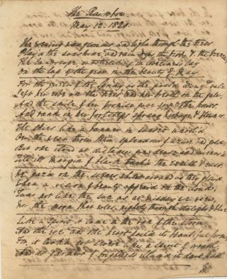 "John Holland original manuscript poem, ""The Rainbow"" signed (titled and dated May 12, 1820). John HOLLAND."