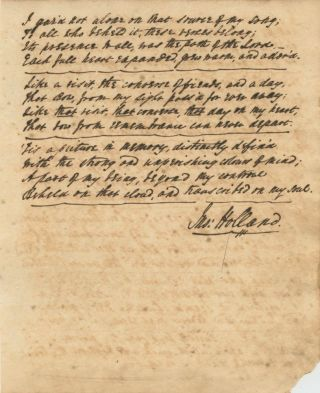 "John Holland original manuscript poem, ""The Rainbow"" signed (titled and dated May 12, 1820)"