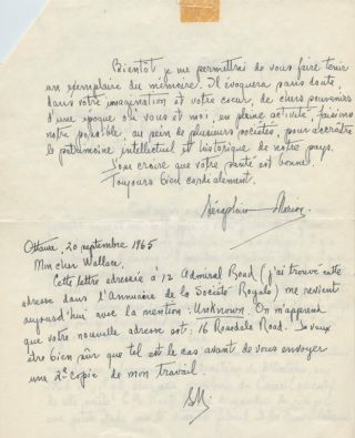 Autographed Signed Letter in French from Séraphin Marion to W. Stewart Wallace