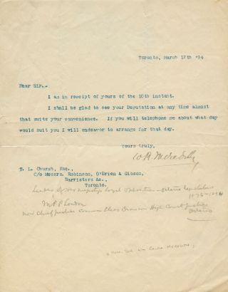 Typed Signed Letter (TSL) from William Ralph Meredith to L. Church. Sir William Ralph MEREDITH