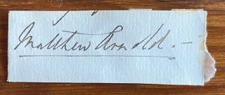 Cut signature of Matthew Arnold. Matthew ARNOLD
