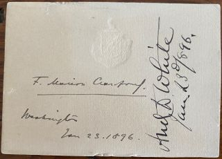 Signature on card of Francis Marion Crawford. Francis Marion CRAWFORD