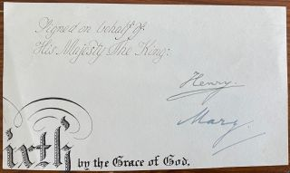Signature of Henry Charles George, Viscount Lascelles and Princess Mary, Princess Royal and...
