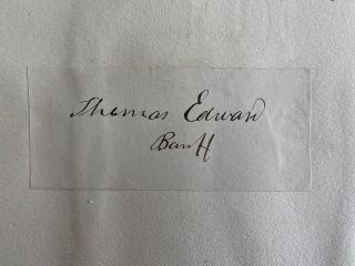 Signature of Thomas Edward mounted on a sheet. Thomas EDWARD
