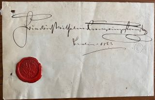 Signature of Frederick William Nicholas Charles, Crown Prince of Prussia on a partial pice of...