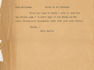 Unsigned typed note of William Arthur Deacon to Joan Hollobun. William Arthur DEACON, Joan...